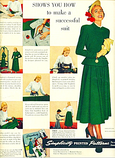 1948 Simplicity printed patterns AD Fashions (Image1)
