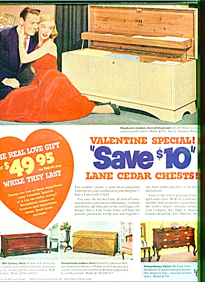 1952 Lane Cedar Chests Ad