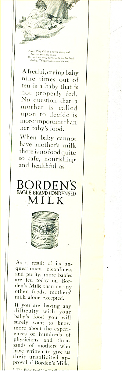 1914 Borden's Condensed Milk -eagle Brand Ad