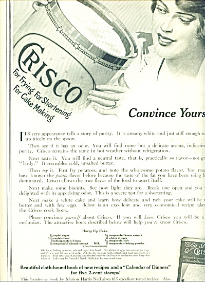 1914 Crisco Shortening AD Vintage ARTWORK (Image1)