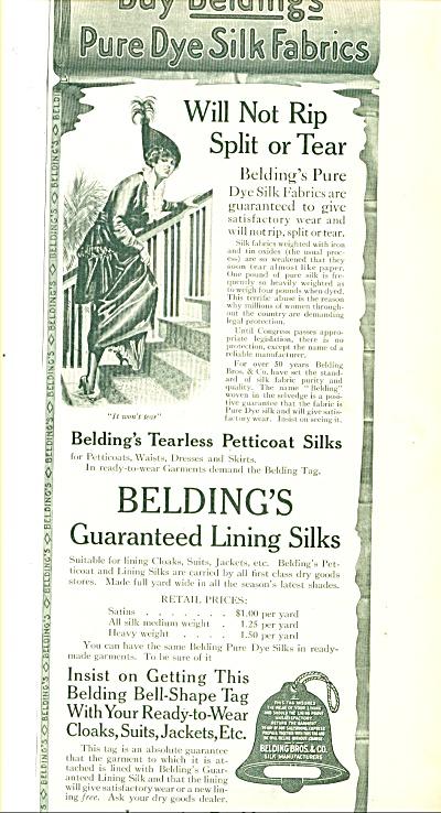 1914 Beldings lining silks & fabrics AD ART (Image1)