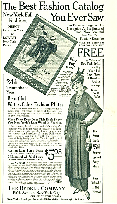 1914 BEDELL Women's FASHION CLOTHES AD ART (Image1)