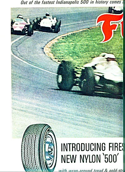1964 Firestone's 500 Tire Ad A.j. Foyt Indy