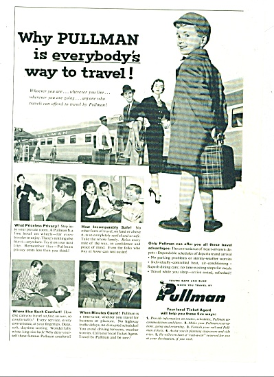 1950 Pullman TRAIN AD Little BOY CUTEST ART (Image1)