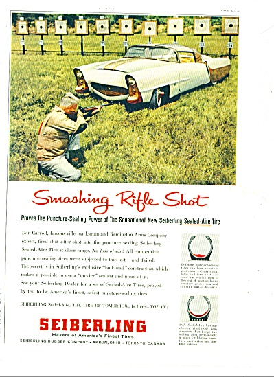 1956 Seiberling Rubber TIRE AD WEIRD CAR (Image1)