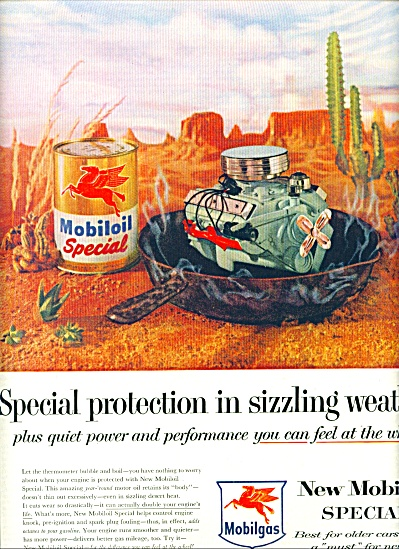 1956 Mobilgas MOBIL OIL SIZZLING CAN AD (Image1)
