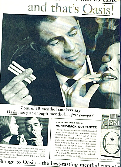 1960 Oasis Cigarettes Ad Menthol Smoking Pair