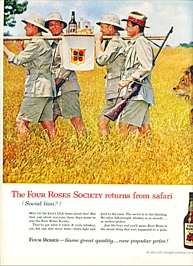 1960 Four Roses Whiskey AD 4 MEN SAFARI (Image1)