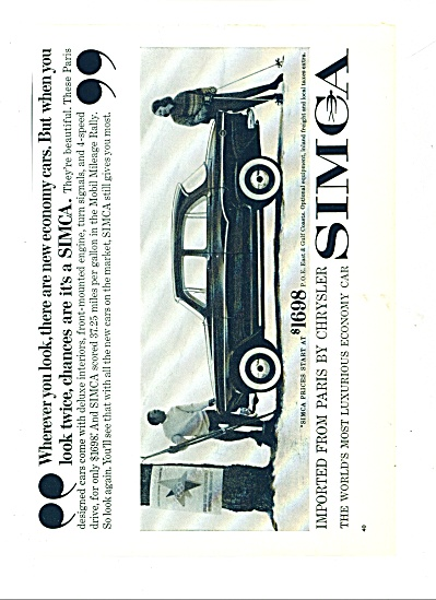 Simca automobile - imported by Chrysler ad (Image1)