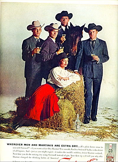 1960 Smirnoff Ad Men In Hats Horse Sense