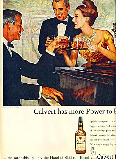 1960 Calvert whiskey Ad Elegant Trio Piano AD (Image1)
