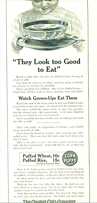 1914 The Quaker Oats AD Corn PUFF ARTWORK (Image1)