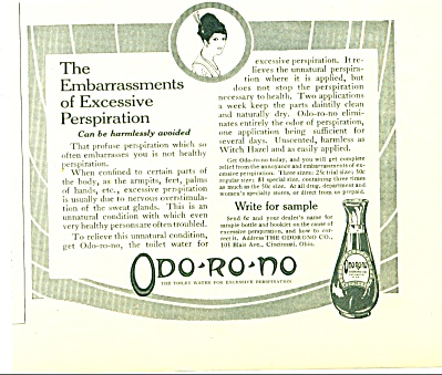 1914 Odo-ro -no Toilet Water Ad For Perspire