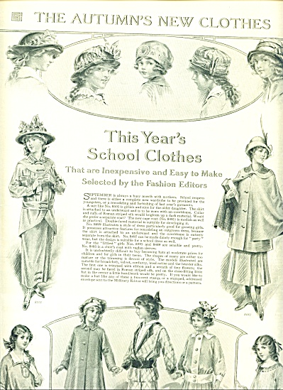 1914 Autumn's School clothes AD STUNNING ART (Image1)