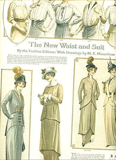 1914 Vintage Womens FASHIONS AD MUSSELMAN ART (Image1)