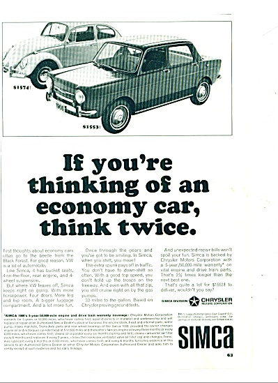 Simca automobile - Chrysler Corp., 1962 ad (Image1)