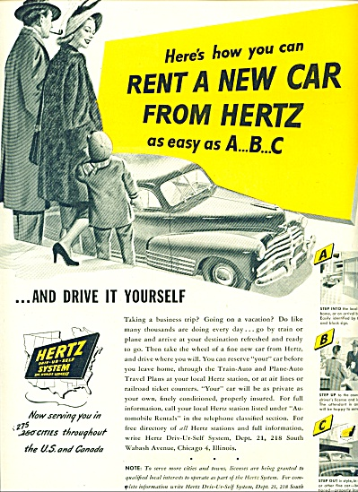 1948 Hertz Rent A Car AD Vintage ART - CAR (Image1)