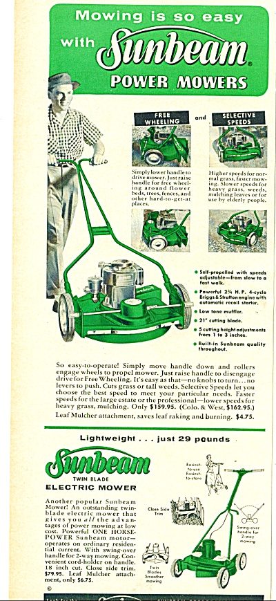 Sunbeam Electric grass mowers ad 1967 (Image1)