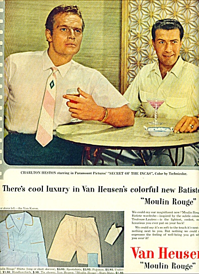 1954 Van Heusen Moulin Rouge SHIRT AD HESTON (Image1)