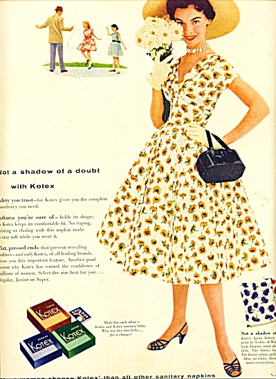 1954 Kotex Napkins AD THIN WAIST MODEL (Image1)