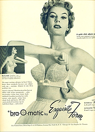 1954 Exquisite Form Bra Ad 2pg Model Jo Aehle