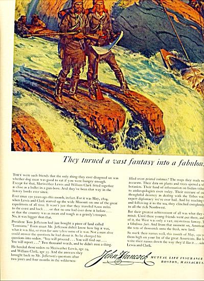 1954 John Hancock AD Lewis - Clark Artwork (Image1)