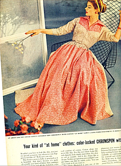1954 Chromspun Cotton Dress Fashion Page/Ad (Image1)