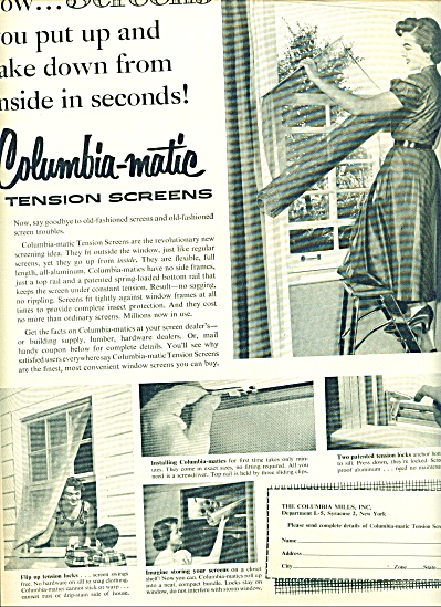 1954 Columbia-matic tension screens AD (Image1)