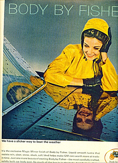 1964 Body by Fisher  AD BEAUTIFUL WOMAN RAIN (Image1)