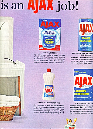 Ajax  Detergent, cleansers ad 1964 (Image1)