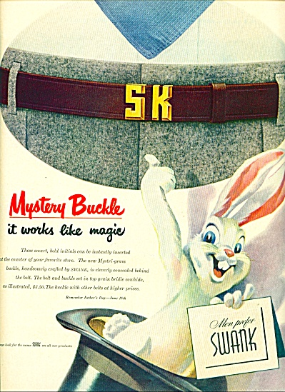 1950 Swank Mystery AD RABBIT - TOP HAT ART (Image1)