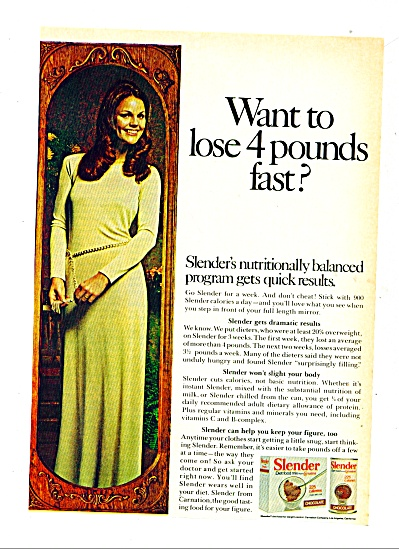 1972 Slender diet food mix AD Elegant Woman (Image1)