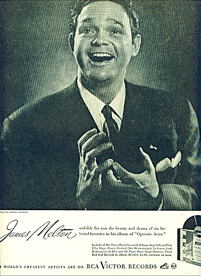 1946 Rca Victor Records Ad James Melton Tenor
