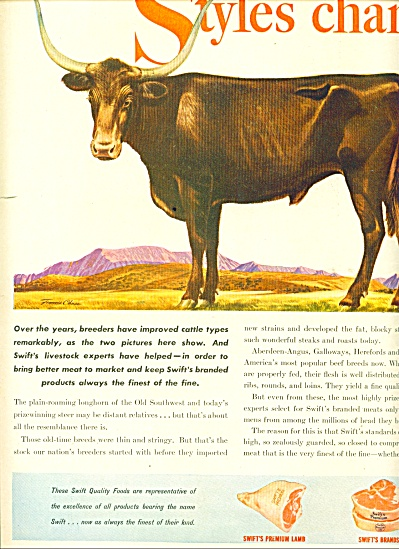 1946 Swift Food AD FRANCIS CHASE ART BULL (Image1)