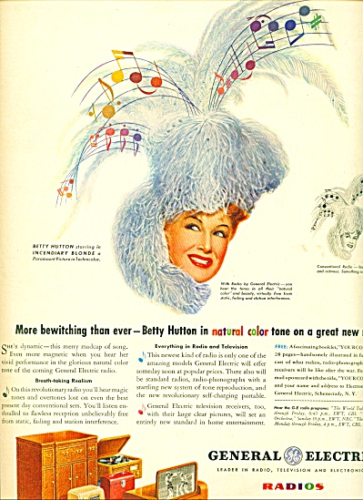 1945 General electric  - BETTY HUTTON AD (Image1)
