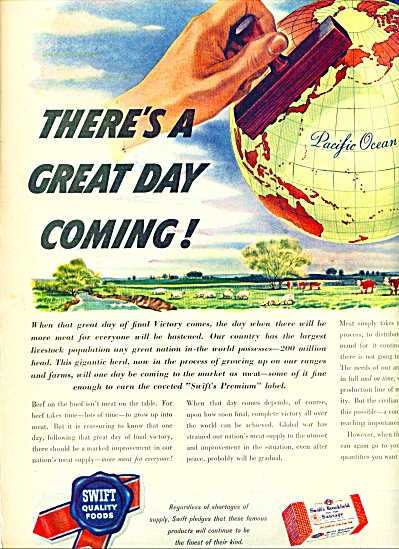 1945 Swift Food AD 2 pg Wartime VICTORY Meat (Image1)