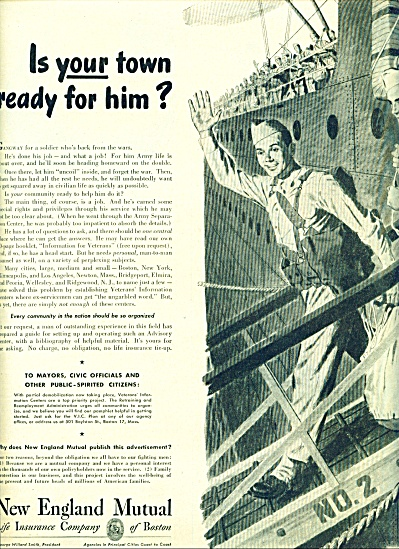 1945 New England Insurance AD SOLDIER HOME (Image1)