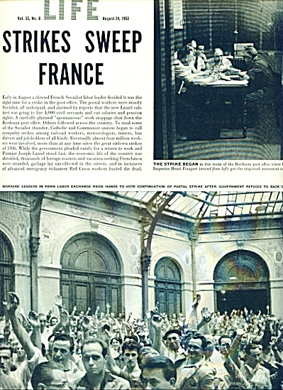 Strikes sweep France Expose story - 1953 (Image1)