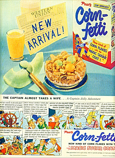 1953 CORN-FETTI Corn Flakes AD Captain JOLLY (Image1)