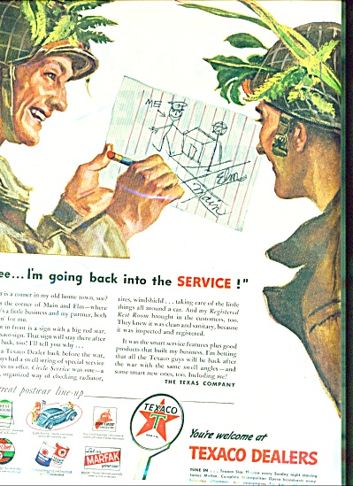 1945 Texaco Dealers AD WWII SOLDIERS AD (Image1)