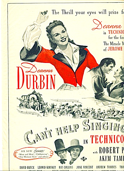 1945 Movie CANT HELP SINGING Deanna Durbin AD (Image1)