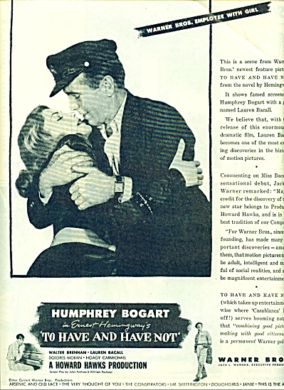 1845 BOGART - Bacall MOVIE AD To Have and ... (Image1)