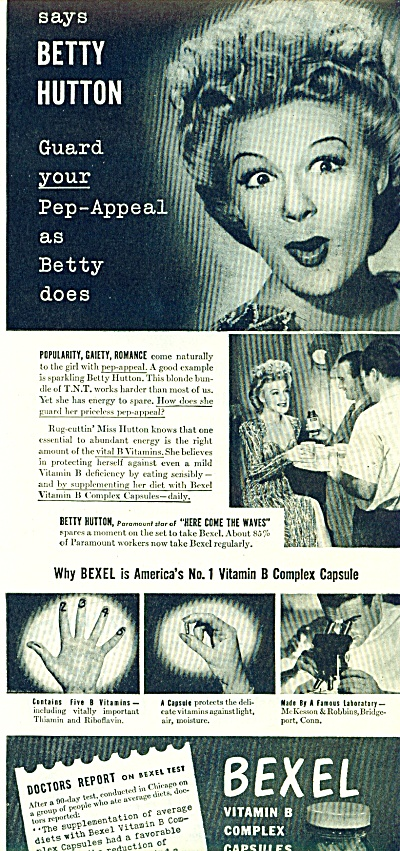 1945 BEXEL Vitamin AD - BETTY HUTTON (Image1)