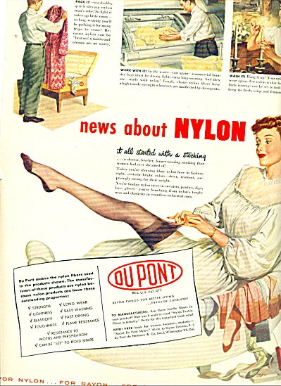 1948 Dupont Nylons AD Pin Up LADY HOSE (Image1)