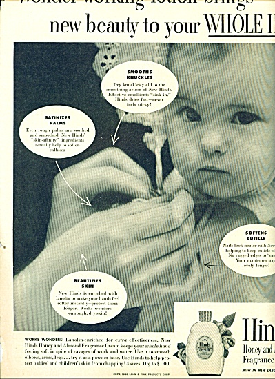 1948 Hinds Cream AD Cutest Baby PIC (Image1)