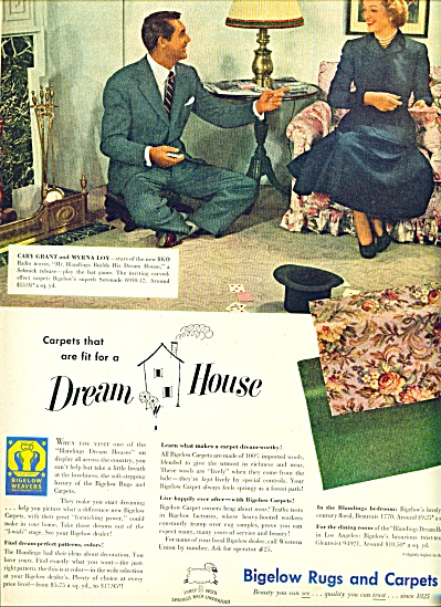 1948 Bigelow Rug AD - CARY GRANT  MYRNA LOY (Image1)
