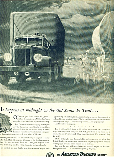 1948  American Trucking AD Sante Fe Ghost ART (Image1)