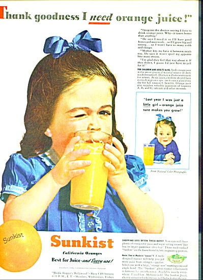 Sunkist orange juice ad 1942 (Image1)