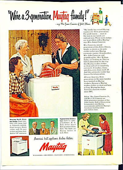 1952 Maytag Washer AD JAMES CAMERON FAMILY (Image1)