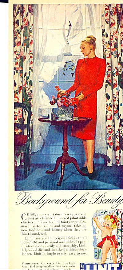 1952 Linit Starch ad Elegant Lady in Red (Image1)